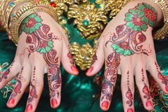 Henna On Hands Stock Photo