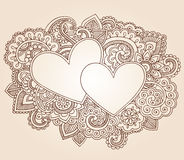 Henna Hearts Valentine's Day Vector. Henna Mehndi Doodles Valentine\'s Day Hearts Pciture Frame Border Abstract Floral Paisley Design Elements Vector Royalty Free Stock Photography