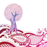 Henna Hill. Highly detailed hand drawn tree on henna style hillside. Easily edited Stock Photo