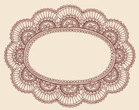 Henna Lace Doily Paisley Doodle Frame Design. Hand-Drawn Henna Lace Doily Paisley Flower Doodle Border Design- Vector Illustration Design Elemens Stock Photography
