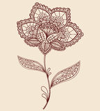 Henna Lace Doily Paisley Flower Doodle Design. Hand-Drawn Abstract Henna Lace Doily Paisley Flower Doodle Design- Vector Illustration Design Elemens Royalty Free Stock Images