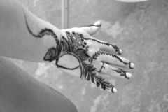 Henna on ladies right hand royalty free illustration