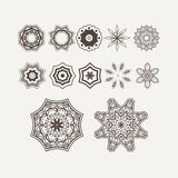 Henna Lines Painted Flowers Set complexe Image stock
