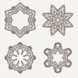 Henna Lines Painted Flowers Set complexe Illustration Stock