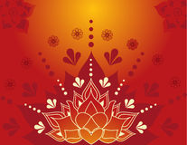 Henna lotus. Colorful traditional Indian lotus henna background design Royalty Free Stock Image