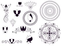 Henna lotus elements Royalty Free Stock Images