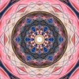 Henna Mandala Background colorida no azul e no rosa ilustração royalty free