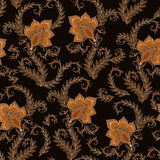 Henna Mehendi  Doodles Seamless Pattern on a brown background Royalty Free Stock Photo