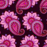 Henna Mehendi Doodles Seamless Pattern on a dark pink background Stock Image