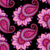 Henna Mehendi Doodles Seamless Pattern on a dark pink background Royalty Free Stock Images