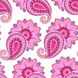 Henna Mehendi Doodles Seamless Pattern en un fondo rosado Imagenes de archivo