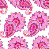 Henna Mehendi Doodles Seamless Pattern on a pink background Stock Images