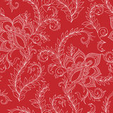 Henna Mehendi Doodles Seamless Pattern on a red background Stock Images