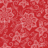 Henna Mehendi Doodles Seamless Pattern on a red background Stock Photos