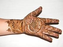 Henna Mehendi on Hand. Beautiful Mehendi Henna design on the palm of a lady. Mehendi from India Royalty Free Stock Images