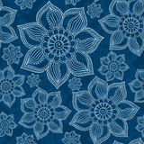 Henna Mehendi Tattoo Doodles Seamless Pattern on blue background Royalty Free Stock Photo