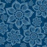 Henna Mehendi Tattoo Doodles Seamless Pattern on blue background. Henna Mehendi Tattoo Doodles Seamless Pattern on a blue background Royalty Free Stock Photo
