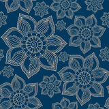 Henna Mehendi Tattoo Doodles Seamless Pattern on blue background Stock Image