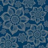 Henna Mehendi Tattoo Doodles Seamless Pattern on blue background. Henna Mehendi Tattoo Doodles Seamless Pattern on a blue background Stock Image