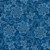 Henna Mehendi Tattoo Doodles Seamless Pattern on blue background. Henna Mehendi Tattoo Doodles Seamless Pattern on a blue background Royalty Free Stock Images