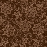 Henna Mehendi Tattoo Doodles Seamless Pattern on a brown back Stock Photos