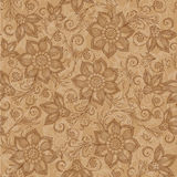 Henna Mehendi Tattoo Doodles Seamless Pattern on a brown back. Ground Royalty Free Stock Images
