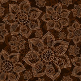Henna Mehendi Tattoo Doodles Seamless Pattern on a brown back. Ground Royalty Free Stock Photos