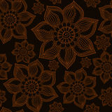 Henna Mehendi Tattoo Doodles Seamless Pattern on brown backgroun Stock Images