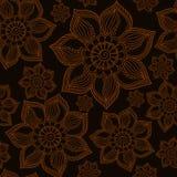 Henna Mehendi Tattoo Doodles Seamless Pattern on brown backgroun Stock Images