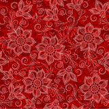 Henna Mehendi Tattoo Doodles Seamless Pattern on red background Royalty Free Stock Photo