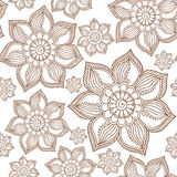 Henna Mehendi Tattoo Doodles Seamless Pattern on a white. Background Royalty Free Stock Image