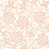 Henna Mehendi Tattoo Doodles Seamless Pattern on a white Stock Photo