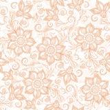 Henna Mehendi Tattoo Doodles Seamless Pattern on a white. Background Stock Photo