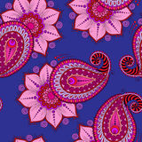 Henna Mehendi Tattoo  Seamless Pattern on a blue background Stock Images