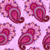 Henna Mehendi Tattoo Seamless Pattern on a pink background Stock Photography