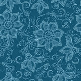 Henna Mehendy Doodles Seamless Pattern on a blue background Royalty Free Stock Photos
