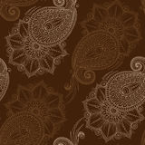 Henna Mehendy Doodles Seamless Pattern on a brown background Stock Photography