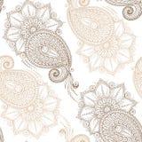 Henna Mehendy Doodles Seamless Pattern en un fondo blanco Imagen de archivo