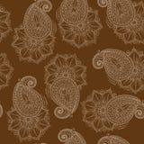 Henna Mehendy Doodles Seamless Pattern en un fondo marrón Imágenes de archivo libres de regalías