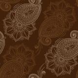 Henna Mehendy Doodles Seamless Pattern en un fondo marrón Fotografía de archivo