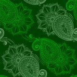Henna Mehendy Doodles Seamless Pattern en un fondo verde Fotos de archivo libres de regalías