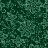 Henna Mehendy Doodles Seamless Pattern en un fondo verde Imágenes de archivo libres de regalías
