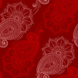 Henna Mehendy Doodles Seamless Pattern on a red background Royalty Free Stock Photo