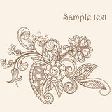 Henna Mehndi Abstract Flowers. Hand-Drawn Abstract Henna Mehndi Abstract Flowers and Paisley - pastel greeting card Stock Images