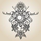 Henna Mehndi Abstract Flowers e Paisley astratte disegnate a mano Immagine Stock Libera da Diritti