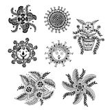 Henna Mehndi Doodle Paisley Design-Elementen stock illustratie