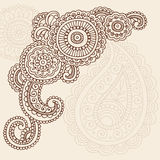 Henna Mehndi Doodle Vector Abstract Design. Hand-Drawn Abstract Henna Mandala Mehndi Tattoo Paisley Henna Corner Design Element with Flowers and Swirls- Vector Stock Images