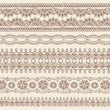 Henna Mehndi Doodle Vector Border Design Elements. Hand-Drawn Abstract Henna Mandala Mehndi Tattoo Paisley Henna Border Design Elements with Flowers, Swirls, and Stock Photography