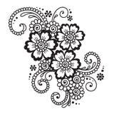 Henna Mehndi Flower Ornament abstrata desenhado à mão Imagem de Stock