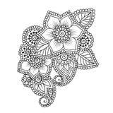 Henna Mehndi Flower Ornament abstrata desenhado à mão Imagem de Stock Royalty Free